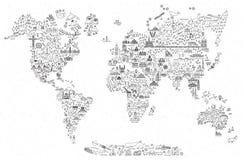 Χάρτης εικονιδίων γραμμών παγκόσμιου ταξιδιού Αφίσα ταξιδιού με τα ζώα και την έλξη επίσκεψης Εμπνευσμένη διανυσματική απεικόνιση διανυσματική απεικόνιση