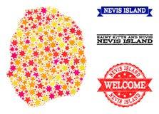 Χάρτης μωσαϊκών αστεριών του νησιού και των σφραγιδών Nevis ελεύθερη απεικόνιση δικαιώματος