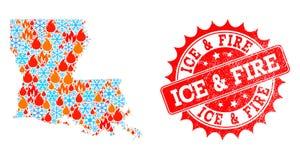 Χάρτης μωσαϊκών του κράτους της Λουιζιάνας της φλόγας και του χιονιού και του πάγου και γρατσουνισμένης της πυρκαγιά σφραγίδας διανυσματική απεικόνιση