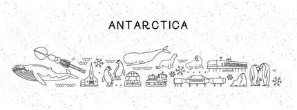 Χάρτης της Ανταρκτικής εικονιδίων γραμμών παγκόσμιου ταξιδιού Αφίσα ταξιδιού με τα ζώα και την έλξη επίσκεψης Εμπνευσμένο διάνυσμ ελεύθερη απεικόνιση δικαιώματος