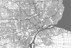 Χάρτης της πόλης του Ντιτρόιτ, Μίτσιγκαν, ΗΠΑ απεικόνιση αποθεμάτων