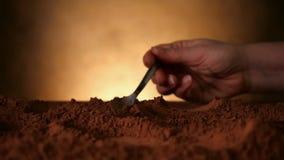 Χέρι με το κουτάλι που εκσκάπτει μέσω της σκόνης κακάου απόθεμα βίντεο