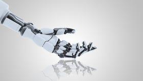Χέρι ρομπότ που παρουσιάζει χειρονομία, που απομονώνεται στο άσπρο υπόβαθρο διανυσματική απεικόνιση
