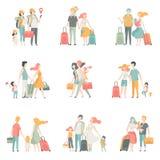 Χαρακτήρες συνόλου, πατέρων, μητέρων και παιδιών οικογενειακού ταξιδιού που ταξιδεύουν μαζί τη διανυσματική απεικόνιση απεικόνιση αποθεμάτων