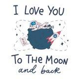 Χαριτωμένη κάρτα με τον αστροναύτη, το φεγγάρι, το διαστημόπλοιο και την επιγραφή εγγραφής διανυσματική απεικόνιση