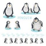 Χαριτωμένη οικογενειακή διανυσματική απεικόνιση κινούμενων σχεδίων penguin Συρμένο χέρι ζώο kawaii απεικόνιση αποθεμάτων