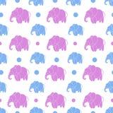Χαριτωμένοι μπλε και ρόδινοι ελέφαντες άνευ ραφής απεικόνιση αποθεμάτων