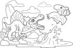 Χαριτωμένοι δεινόσαυροι που χρωματίζουν το βιβλίο, αστεία απεικόνιση διανυσματική απεικόνιση