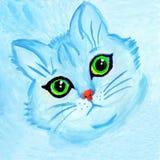 Χαριτωμένο μπλε πορτρέτο γατών με τα πράσινα μάτια ελεύθερη απεικόνιση δικαιώματος