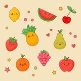 Χαριτωμένο σύνολο προσώπου Kawaii τροφίμων φρούτων Πορτοκάλι και μήλο ελεύθερη απεικόνιση δικαιώματος
