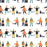 Χειμερινό άνευ ραφής σχέδιο με τους ανθρώπους διανυσματική απεικόνιση