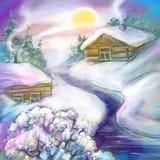 Χειμερινό κρύο χιόνι στη ρωσική χώρα στοκ εικόνες