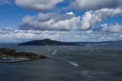 Χειμώνας νησιών γωνίας του Σαν Φρανσίσκο Καλιφόρνια που πλέει με τον κόλπο διανυσματική απεικόνιση