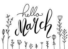 Χειρόγραφη εγγραφή γειά σου, Μάρτιος με τα λουλούδια doodle Οριζόντια ευχετήρια κάρτα απεικόνιση αποθεμάτων