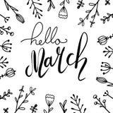 Χειρόγραφη εγγραφή γειά σου, Μάρτιος με τα λουλούδια doodle Τετραγωνική ευχετήρια κάρτα απεικόνιση αποθεμάτων