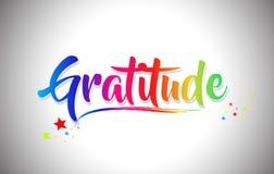 Χειρόγραφο κείμενο του Word ευγνωμοσύνης με τα χρώματα ουράνιων τόξων και δονούμενο Swoosh απεικόνιση αποθεμάτων