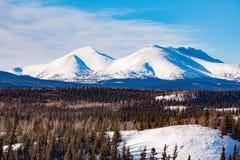 Χιονώδες τοπίο Yukon YT Καναδάς χειμερινών βουνών στοκ φωτογραφία