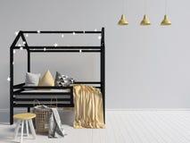Χλεύη επάνω στον τοίχο στο εσωτερικό του παιδιού θέση ύπνου απεικόνιση αποθεμάτων