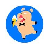 Χοίρος με το δεσμό παγωτού και τόξων διάνυσμα Λογότυπο, σύμβολο για την επιχείρηση Έμβλημα για το γρήγορο φαγητό και τα τρόφιμα κ διανυσματική απεικόνιση