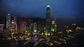 Χονγκ Κονγκ, ουρανοξύστες, στο κέντρο της πόλης, νύχτα απόθεμα βίντεο