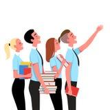 Χρήστες με τα βιβλία στην εκμάθηση Η έννοια των επιτυχών σπουδαστών επίσης corel σύρετε το διάνυσμα απεικόνισης διανυσματική απεικόνιση