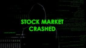 Χρηματιστήριο που συντρίβονται, ανώνυμο άτομο που συμμετέχει στα οικονομικά stealing χρήματα απάτης στοκ εικόνα