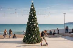 Χριστουγεννιάτικο δέντρο στην παραλία στοκ φωτογραφίες με δικαίωμα ελεύθερης χρήσης