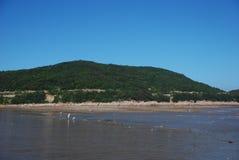 Χρονικό χαμηλό νερό βραδιού στην παραλία στοκ φωτογραφία με δικαίωμα ελεύθερης χρήσης