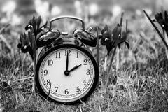 Χρόνος αποταμίευσης φωτός της ημέρας Ξυπνητήρι που μεταπηδά στο θερινό χρόνο στοκ εικόνα