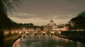 Χρόνος-σφάλμα της Ρώμης, της βασιλικής Βατικάνου, ST Peter και της γέφυρας του ST Angelo που διασχίζει τον ποταμό Tiber στο κέντρ απόθεμα βίντεο