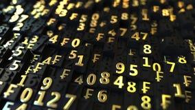 Χρυσά ελβετικά σύμβολα CHF φράγκων και αριθμοί στα μαύρα πιάτα, loopable τρισδιάστατη ζωτικότητα ελεύθερη απεικόνιση δικαιώματος