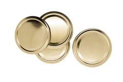 Χρυσά καπάκια βάζων που απομονώνονται στο άσπρο υπόβαθρο στοκ εικόνα με δικαίωμα ελεύθερης χρήσης