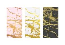 Χρυσά μαρμάρινα μίμησης υπόβαθρα καθορισμένα Αφηρημένη κάλυψη με τον παλαιό βράχο, σύσταση πετρών διανυσματική απεικόνιση