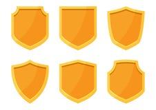 Χρυσή συλλογή ασπίδων επίσης corel σύρετε το διάνυσμα απεικόνισης ελεύθερη απεικόνιση δικαιώματος