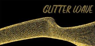 Χρυσός ακτινοβολήστε κύμα στο σκοτεινό διανυσματικό πρότυπο απεικόνιση αποθεμάτων