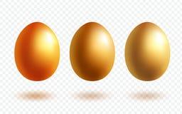 Χρυσό αυγό με τη σκιά Πλούτος και σύμβολο θρησκείας Ρεαλιστικό πολύτιμο αυγό Πάσχας που απομονώνεται στο διαφανές υπόβαθρο απεικόνιση αποθεμάτων