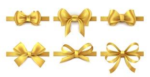 Χρυσό τόξο κορδελλών Διακόσμηση δώρων διακοπών, παρών κόμβος ταινιών βαλεντίνων, λαμπρή συλλογή κορδελλών πώλησης Διανυσματικά χρ διανυσματική απεικόνιση