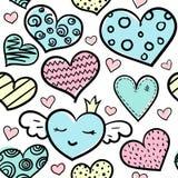 Χρωματισμένο Doodle άνευ ραφής σχέδιο καρδιών διανυσματική απεικόνιση