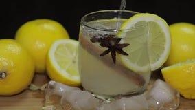 Χύνει το χυμό λεμονιών στο ποτήρι με τις φέτες πάγου, θυμαριού και λεμονιών απόθεμα βίντεο