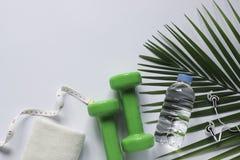 Υγιές αντικείμενο τοπ άποψης στο άσπρο υπόβαθρο με τους αλτήρες, το νερό και τα ακουστικά για τον αθλητισμό ή την έννοια άσκησης στοκ φωτογραφία