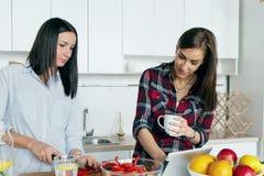 Υγιείς εγχώριες φίλες τροφίμων που μαγειρεύουν τη φυτική εγχώρια κουζίνα θερινής σαλάτας στοκ εικόνα