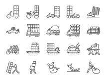 Υπέρβαρο σύνολο εικονιδίων γραμμών μεταφορών Συμπεριλαμβανόμενα εικονίδια όπως τη ναυτιλία, την παράδοση, βαρύς, το φορτηγό, το ρ απεικόνιση αποθεμάτων