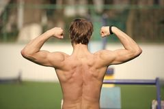 Υπερήφανος της μορφής του Η κατάρτιση αθλητών ατόμων υπαίθρια παρουσιάζει μυϊκή πλάτη του Αθλητική τοποθέτηση ατόμων με τους μυς  στοκ φωτογραφίες με δικαίωμα ελεύθερης χρήσης