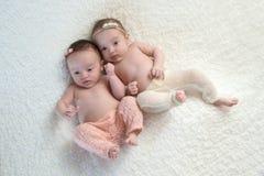 Υπερυψωμένος πυροβολισμός των αδελφών μωρών δίδυμων ετεροζυγωτών στοκ φωτογραφία με δικαίωμα ελεύθερης χρήσης