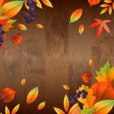 Υπόβαθρο με τα ξύλινα φύλλα πινάκων και φθινοπώρου διανυσματική απεικόνιση