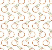 Υπόβαθρο με το ώριμο πορτοκαλί ροδάκινο περιγράμματος με τον πράσινο μίσχο με το καφετί τέλος και πράσινο φύλλο στη σειρά το ένα  στοκ φωτογραφία