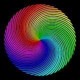 Υπόβαθρο υπό μορφή χρωματισμένης σφαίρας των ακτίνων που στροβιλίζονται πέρα από μια σπείρα διανυσματική απεικόνιση