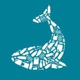 Ωκεάνια πλαστική ρύπανση οικολογική αφίσα Φάλαινα που αποτελείται από την άσπρη πλαστική τσάντα αποβλήτων, μπουκάλι στο μπλε υπόβ ελεύθερη απεικόνιση δικαιώματος