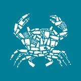 Ωκεάνια πλαστική ρύπανση Οικολογικό καβούρι αφισών που αποτελείται από την άσπρη πλαστική τσάντα αποβλήτων, μπουκάλι στο μπλε υπό ελεύθερη απεικόνιση δικαιώματος