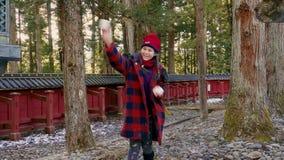 Πάλη χιονιών με tween το κορίτσι απόθεμα βίντεο